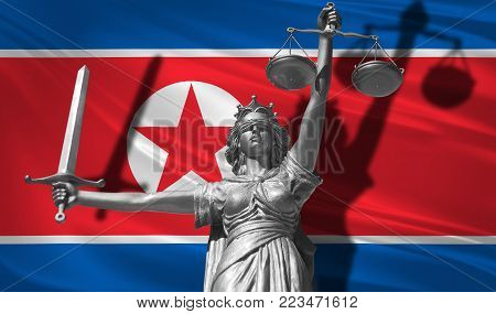 Cover about Law. Statue of god of justice Theme with Flag of North Korea background. Original Statue of Justice with scale, symbol of justice with North Korea flag 3d rendering.