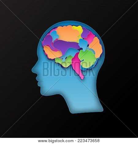 Colorful vector brain illustration, layered cut out colored paper human profile. Creative mind, learning and design concept