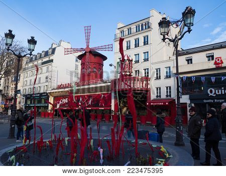 PARIS - January 14, 2018 : The Moulin Rouge , on January 14, 2018 in Paris, France. Moulin Rouge is a famous cabaret built in 1889, locating in the Paris red-light district of Pigalle