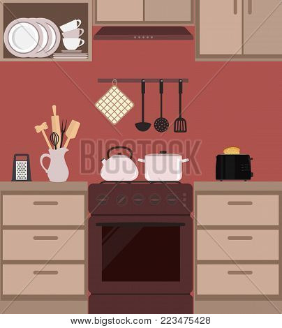 Fragment of a kitchen interior in brown color. There is a kettle and pan on the stove, also toaster, a jar with kitchen utensils and other objects in the picture. Vector flat illustration