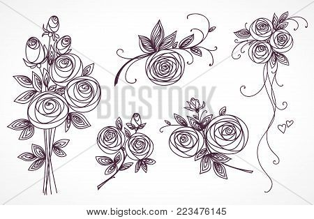 Roses set. Collection of roses bouquets. Stylized flower outline hand drawing. Present for wedding, birthday