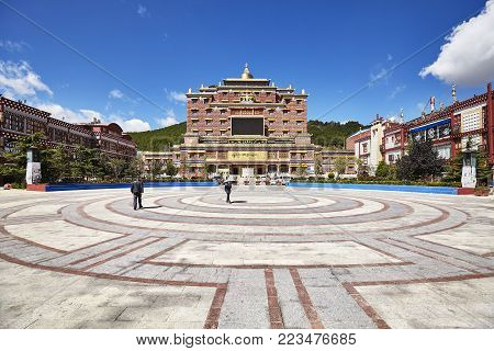 Shangri-la, China - September 24, 2017: City Downtown, Formerly Called Zhongdian, Renamed In 2001 Af