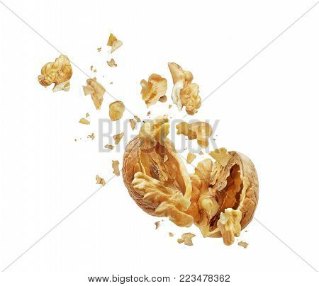 Walnut is torn to pieces isolated on white background