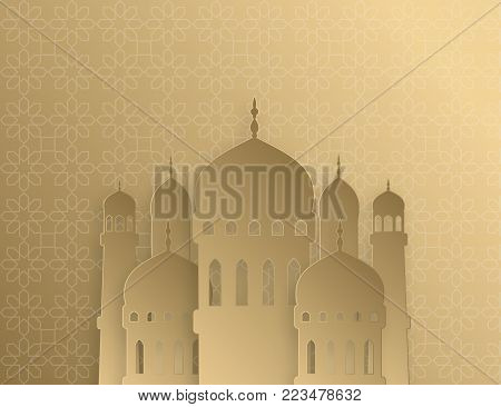 Creative islamic mosque made by paper cutout for holy month of muslim community, Ramadan Kareem celebration. Vector 3D golden paper mosque