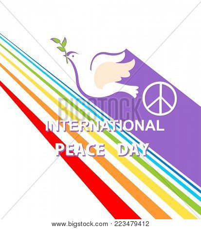 Greeting card with cut out paper flying dove, peace symbol and rainbow for International Peace day. Flat design