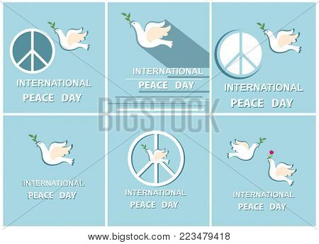 Greeting pastel blue cards with paper cut out doves and peace symbol for International Peace day. Flat design