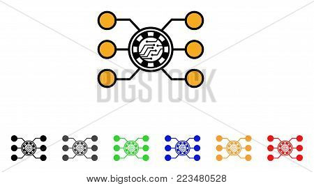 Casino Chip Circuit icon. Vector illustration style is a flat iconic casino chip circuit symbol with gray, yellow, green, blue, red, black color versions. Designed for web and software interfaces.