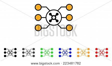 Roulette Circuit icon. Vector illustration style is a flat iconic roulette circuit symbol with gray, yellow, green, blue, red, black color versions. Designed for web and software interfaces.