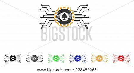 Digital Casino Circuit icon. Vector illustration style is a flat iconic digital casino circuit symbol with gray, yellow, green, blue, red, black color variants.