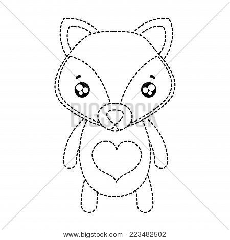 dotted shape tender fox cute wild animal vector illustration