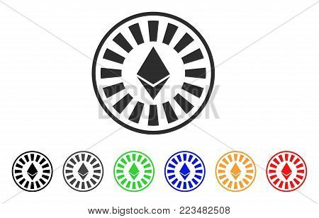 Ethereum Casino Roulette icon. Vector illustration style is a flat iconic ethereum casino roulette symbol with grey, yellow, green, blue, red, black color variants. poster