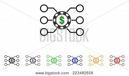 Casino Chip Circuit icon. Vector illustration style is a flat iconic casino chip circuit symbol with gray, yellow, green, blue, red, black color variants. Designed for web and software interfaces.