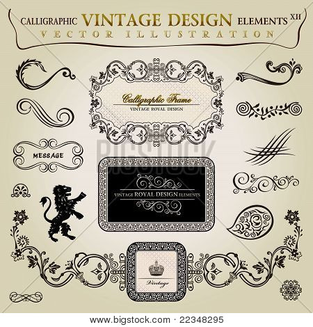 Calligraphic Elements Vintage Heraldic. Vector Frame Decor.eps