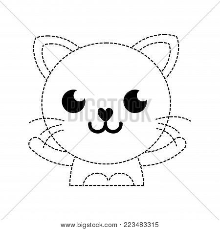 dotted shape smile cat adorable feline animal vector illustration poster