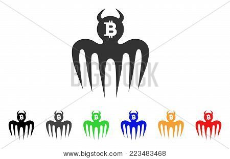 Bitcoin Spectre Devil icon. Vector illustration style is a flat iconic bitcoin spectre devil symbol with grey, yellow, green, blue, red, black color variants. Designed for web and software interfaces.