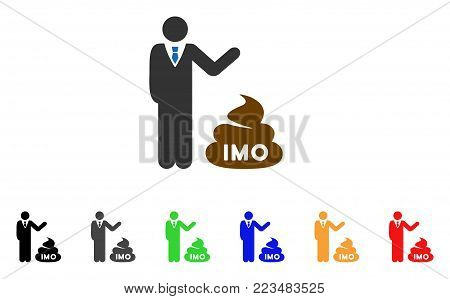 Businessman Show Imo Shit icon. Vector illustration style is a flat iconic businessman show IMO shit symbol with gray, yellow, green, blue, red, black color variants.