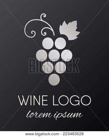 Silver gradient grapes logo. Luxury wine or vine logotype icon. Brand design element for organic wine, wine list, menu, liquor store, selling alcohol, wine company. Vector illustration.