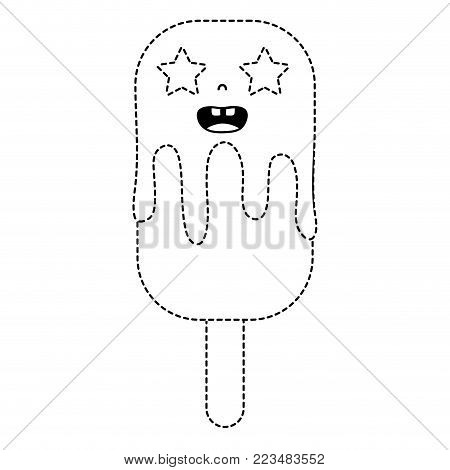 dotted shape happy kawaii ice lolly with stars eyes vector illustration