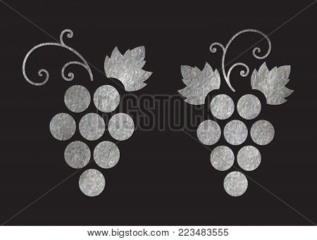 Set of silver textured grapes logo. Luxury wine or vine logotype icon. Brand design element for organic wine, wine list, menu, liquor store, selling alcohol, wine company. Vector illustration.