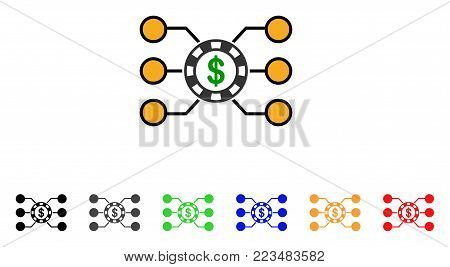Casino Chip Circuit icon. Vector illustration style is a flat iconic casino chip circuit symbol with grey, yellow, green, blue, red, black color versions. Designed for web and software interfaces.