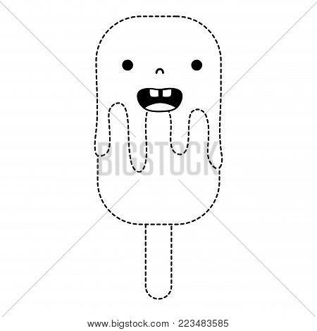 dotted shape smile ice lolly kawaii dessert vector illustration