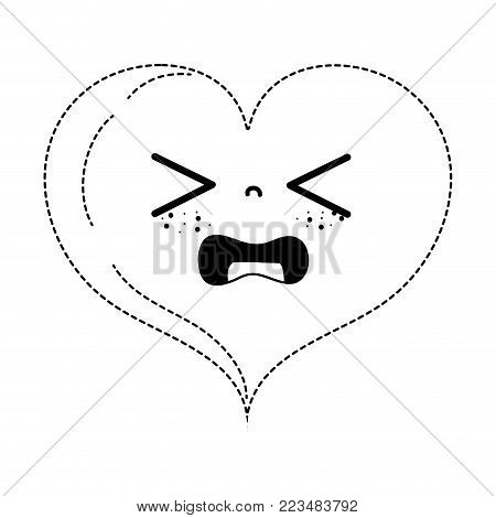 dotted shape gaudy heart love kawaii cartoon vector illustration