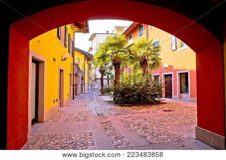 Colorful passage and cobbled street of Cividale del Friuli, town in Friuli Venezia Giulia region of Italy