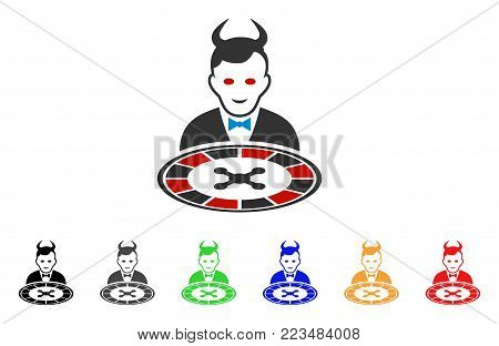 Devil Roulette Dealer icon. Vector illustration style is a flat iconic devil roulette dealer symbol with grey, yellow, green, blue, red, black color variants. Designed for web and software interfaces.
