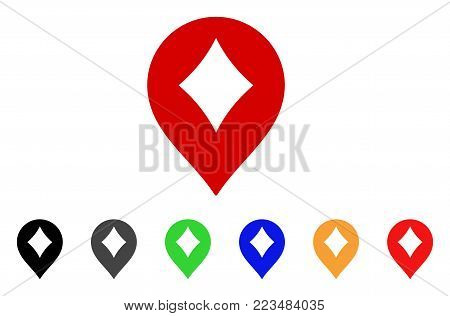 Diamonds Casino Marker icon. Vector illustration style is a flat iconic diamonds casino marker symbol with gray, yellow, green, blue, red, black color variants.