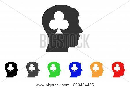 Gambling Addiction Patient icon. Vector illustration style is a flat iconic gambling addiction patient symbol with grey, yellow, green, blue, red, black color variants.