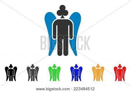Gambling Angel icon. Vector illustration style is a flat iconic gambling angel symbol with grey, yellow, green, blue, red, black color versions. Designed for web and software interfaces.