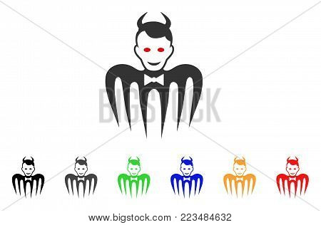 Gentleman Spectre Devil icon. Vector illustration style is a flat iconic gentleman spectre devil symbol with gray, yellow, green, blue, red, black color variants.
