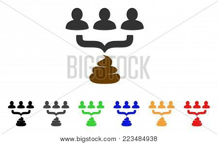 Human Shit Aggregator Funnel icon. Vector illustration style is a flat iconic human shit aggregator funnel symbol with gray, yellow, green, blue, red, black color versions.