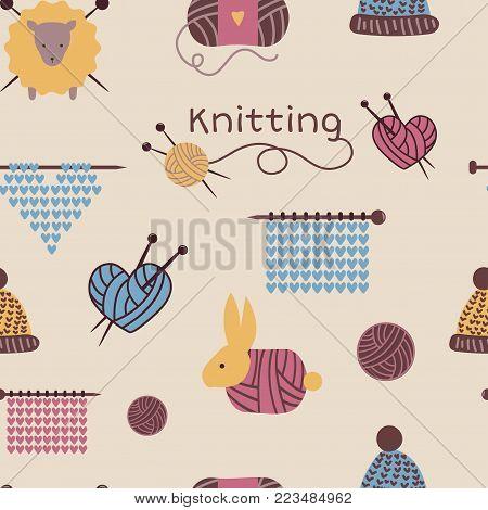 Knitting needles pattern seamless vector wool knitwear background or knitted woolen socks logo crocheting woolly materials backdrop and handknitting illustration wallpaper.