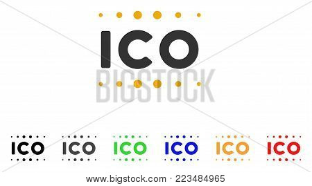 Ico Caption icon. Vector illustration style is a flat iconic ico caption symbol with gray, yellow, green, blue, red, black color variants. Designed for web and software interfaces.