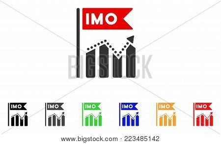 Imo Chart Trend icon. Vector illustration style is a flat iconic imo chart trend symbol with gray, yellow, green, blue, red, black color versions. Designed for web and software interfaces.