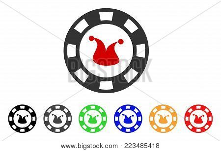 Joker Casino Chip icon. Vector illustration style is a flat iconic joker casino chip symbol with gray, yellow, green, blue, red, black color versions. Designed for web and software interfaces. poster