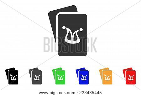 Joker Gambling Cards icon. Vector illustration style is a flat iconic joker gambling cards symbol with grey, yellow, green, blue, red, black color versions. Designed for web and software interfaces. poster