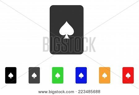 Peaks Playing Card icon. Vector illustration style is a flat iconic peaks playing card symbol with gray, yellow, green, blue, red, black color variants. Designed for web and software interfaces.