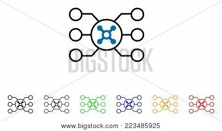 Roulette Circuit icon. Vector illustration style is a flat iconic roulette circuit symbol with grey, yellow, green, blue, red, black color variants. Designed for web and software interfaces.