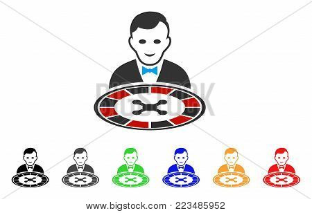 Roulette Dealer icon. Vector illustration style is a flat iconic roulette dealer symbol with gray, yellow, green, blue, red, black color variants. Designed for web and software interfaces.