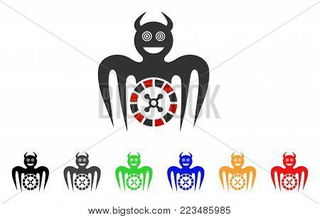 Roulette Mad Spectre Devil icon. Vector illustration style is a flat iconic roulette mad spectre devil symbol with grey, yellow, green, blue, red, black color variants.