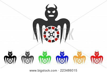 Roulette Spectre Devil icon. Vector illustration style is a flat iconic roulette spectre devil symbol with grey, yellow, green, blue, red, black color versions.
