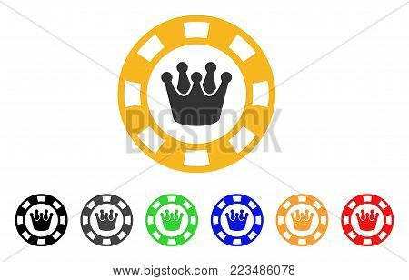 Royal Casino Chip icon. Vector illustration style is a flat iconic royal casino chip symbol with gray, yellow, green, blue, red, black color variants. Designed for web and software interfaces.