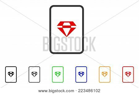 Ruby Gambling Card icon. Vector illustration style is a flat iconic ruby gambling card symbol with gray, yellow, green, blue, red, black color versions. Designed for web and software interfaces.