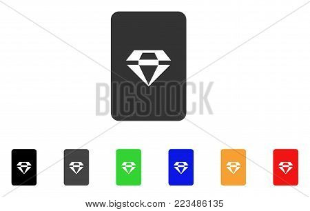 Ruby Gaming Card icon. Vector illustration style is a flat iconic ruby gaming card symbol with grey, yellow, green, blue, red, black color variants. Designed for web and software interfaces.