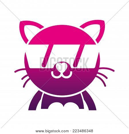 silhouette happy cat adorable feline animal with sunglasses vector illustration poster