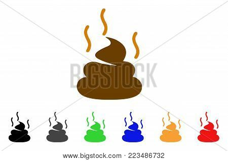 Shit Smell icon. Vector illustration style is a flat iconic shit smell symbol with grey, yellow, green, blue, red, black color variants. Designed for web and software interfaces.