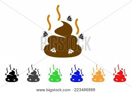 Smell Bullshit icon. Vector illustration style is a flat iconic smell bullshit symbol with gray, yellow, green, blue, red, black color versions. Designed for web and software interfaces.