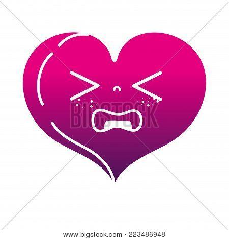 silhouette gaudy heart love kawaii cartoon vector illustration